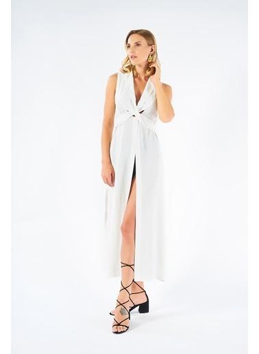 Women&Women Beyaz Yırtmaçlı Uzun Elbise  Beyaz